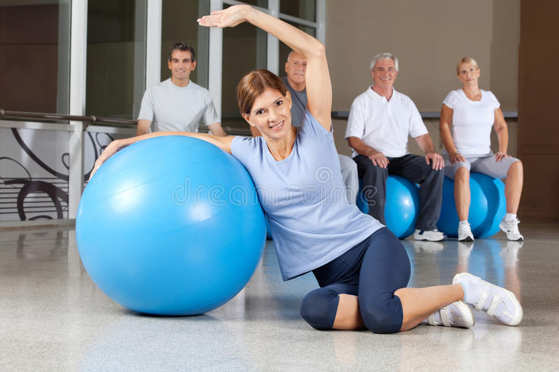 Download Woman Doing Back Exercises With Gym Stock Image - Image: 23996377