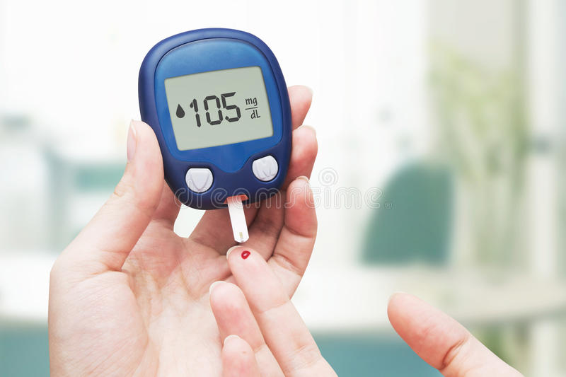 Woman doing blood sugar test. For diabetes royalty free stock image
