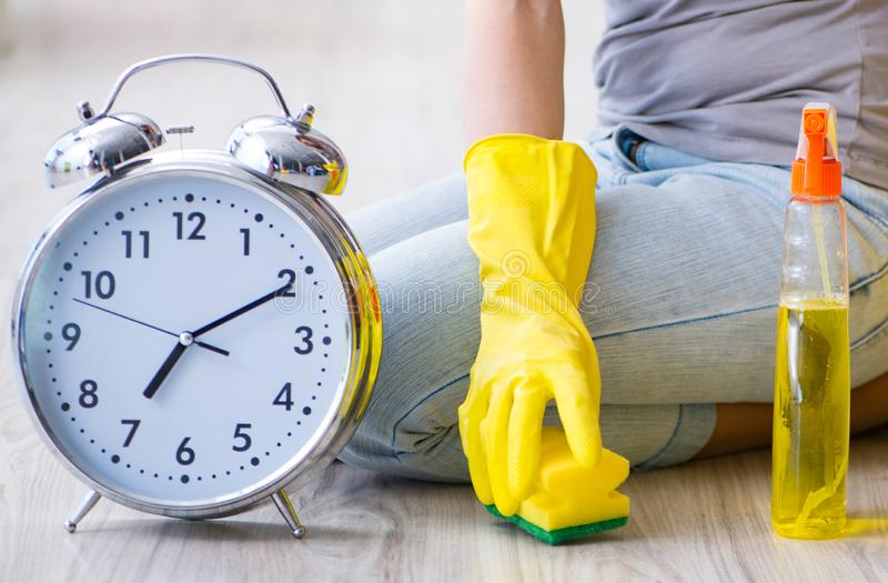 Woman doing cleaning at home. The woman doing cleaning at home stock images