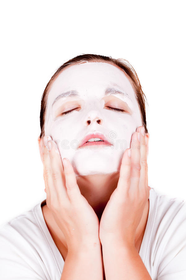 Download Woman doing cosmetic mask stock photo. Image of girl - 19937838