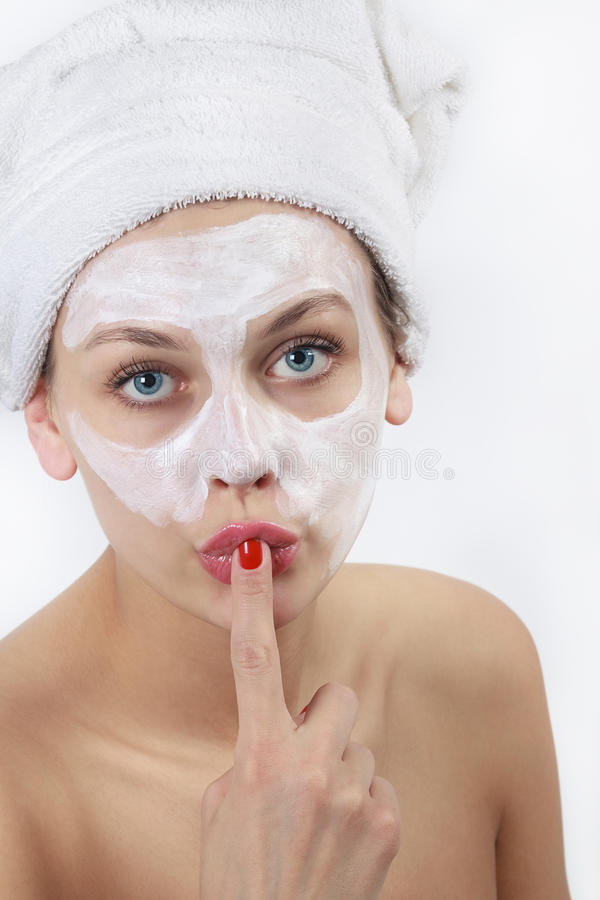 Download Woman doing cosmetic mask stock photo. Image of cosmetic - 24104458