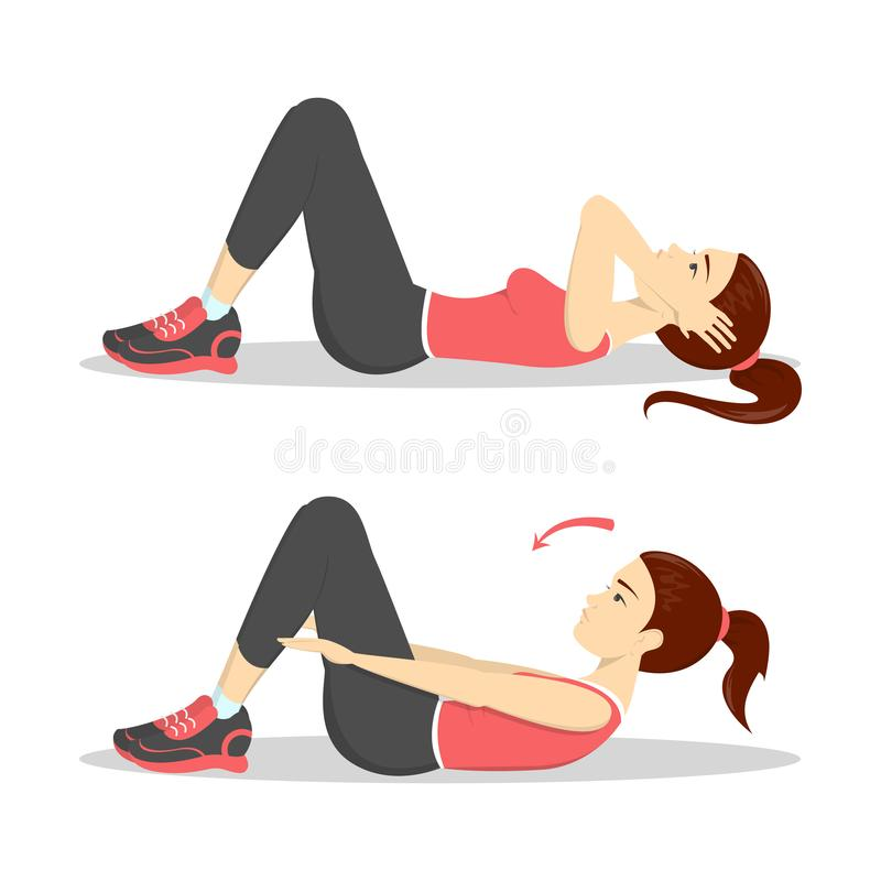 Woman doing crunches in the gym. Belly burn. Workout. Girl make exercise. ABS workout. Healthy and active lifestyle. Isolated vector illustration royalty free illustration