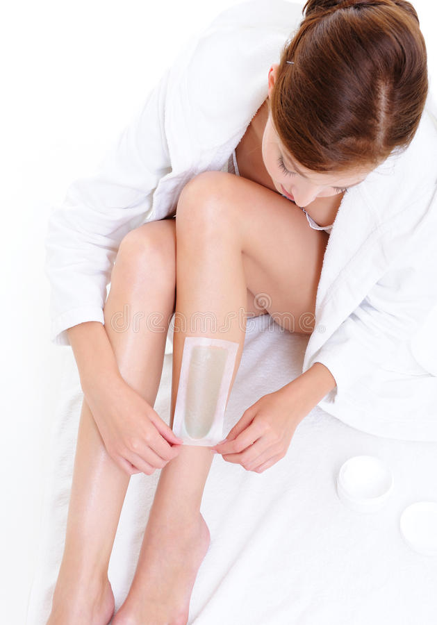 Download Woman Doing Depilation For Her Legs With Waxing Stock Photo - Image of shaving, relaxation: 10812688
