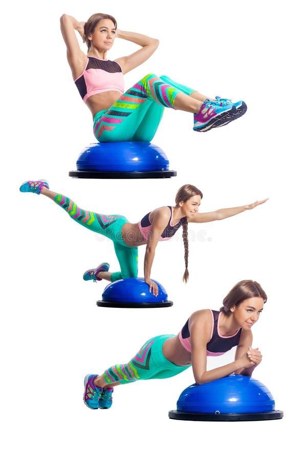 Woman doing exercise on bosu stock image