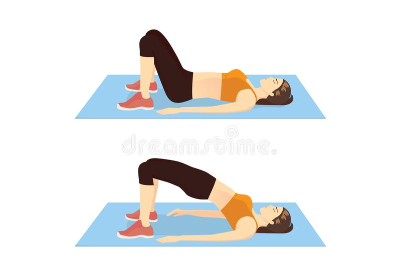 Woman doing exercise with Hip lift. vector illustration