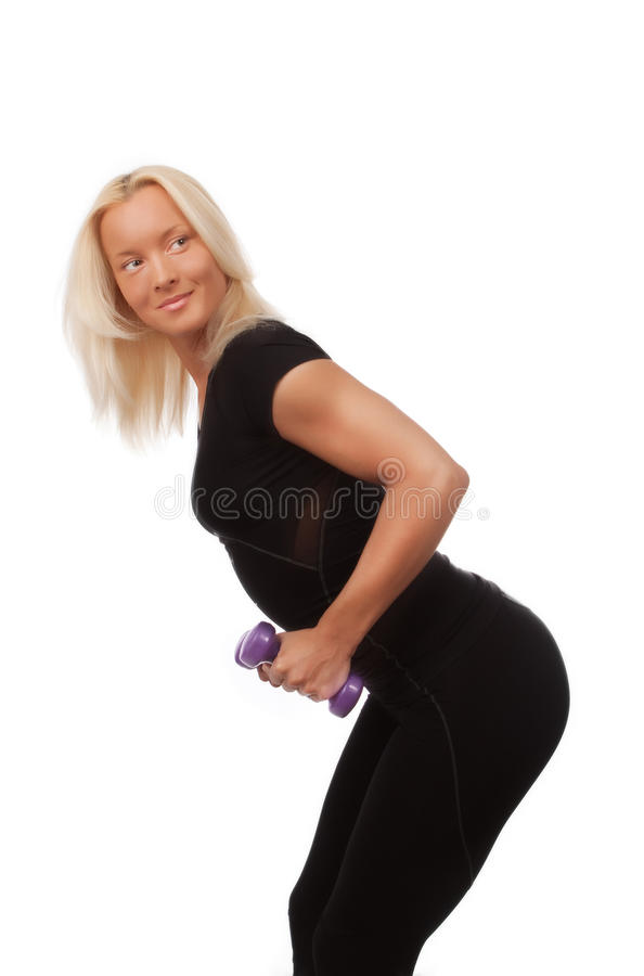 Woman Doing Exercise For Triceps Stock Photography