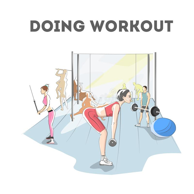 Woman doing exercises in the gym. Workout with dumbbell. For different groups of muscles. Arm and training for women. Isolated flat vector illustration stock illustration