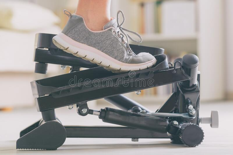 Exercises with stepper at home royalty free stock image