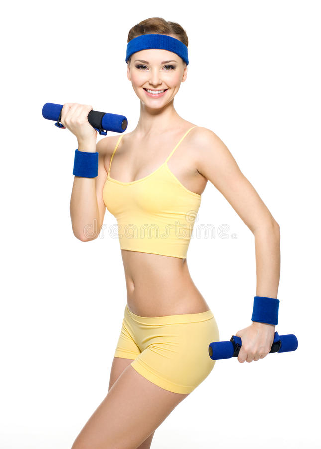 Free Woman Doing Fitness Exercise With Dumbbells Stock Images - 17367714