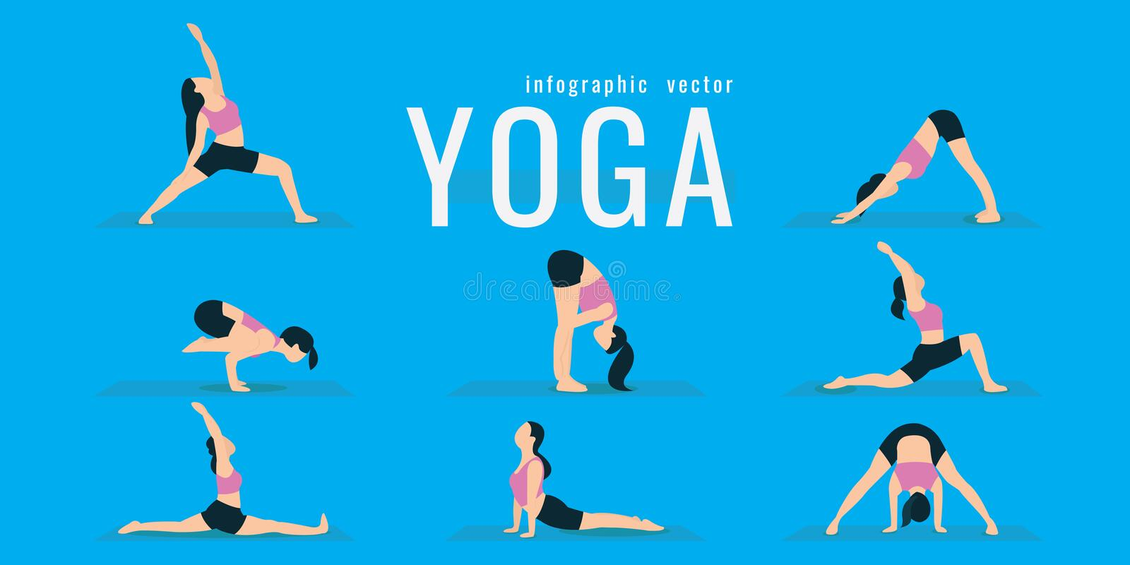 Woman doing fitness and yoga exercises. Lunges and squats. Active and healthy life concept. vector illustration. on blue vector illustration