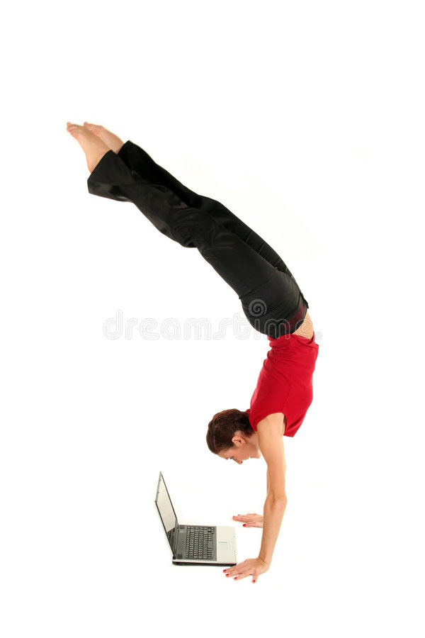 Woman doing handstand stock image