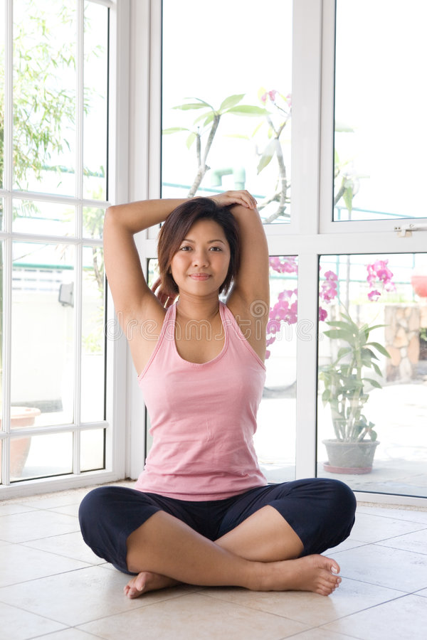 Download Woman Doing Her Arm Stretching Exercise Stock Photo - Image: 5296008