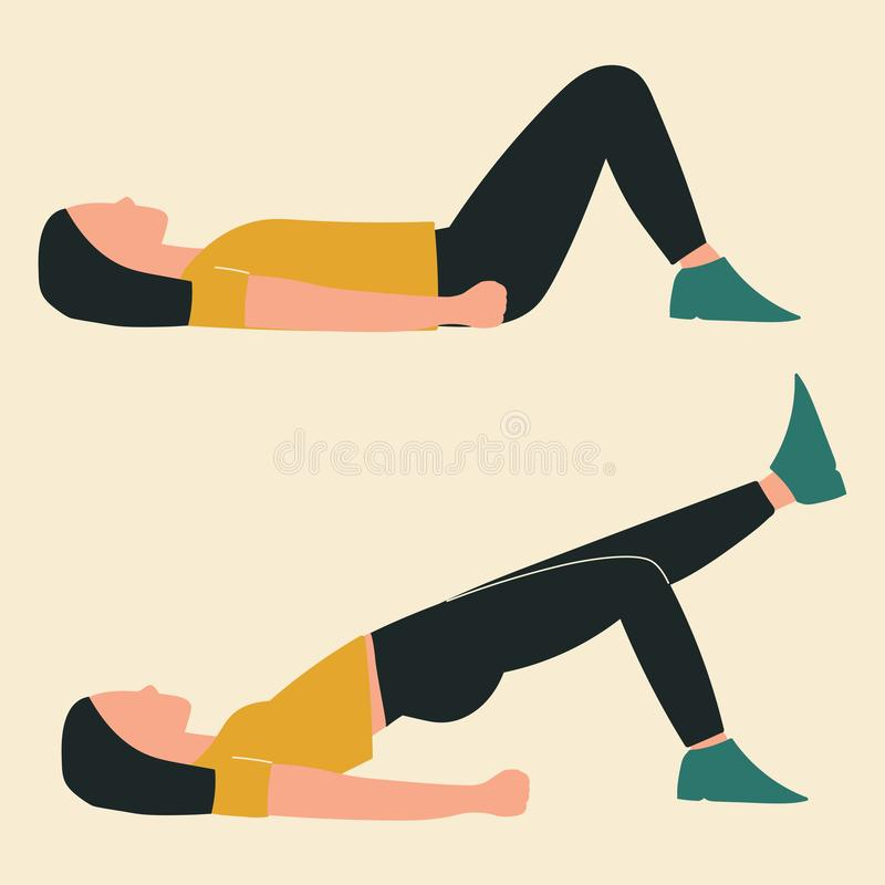 Woman doing hip bridge with extension. Illustrations of glute exercises and workouts. Flat vector illustration stock illustration