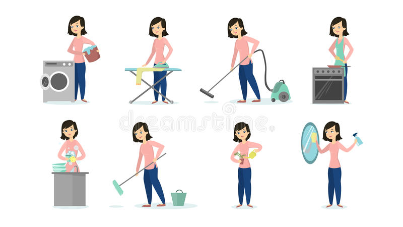 Woman doing chores. Woman doing household chores on white background. Cleaning and ironing, cooking and vacuum cleaning vector illustration