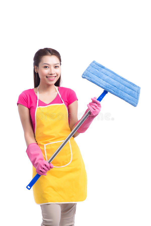 Woman doing housekeeping stuff at home isolated on white background royalty free stock photos