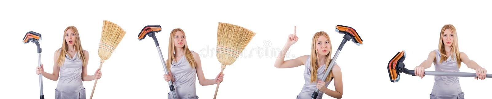 Woman doing housekeeping stuff at home stock photography