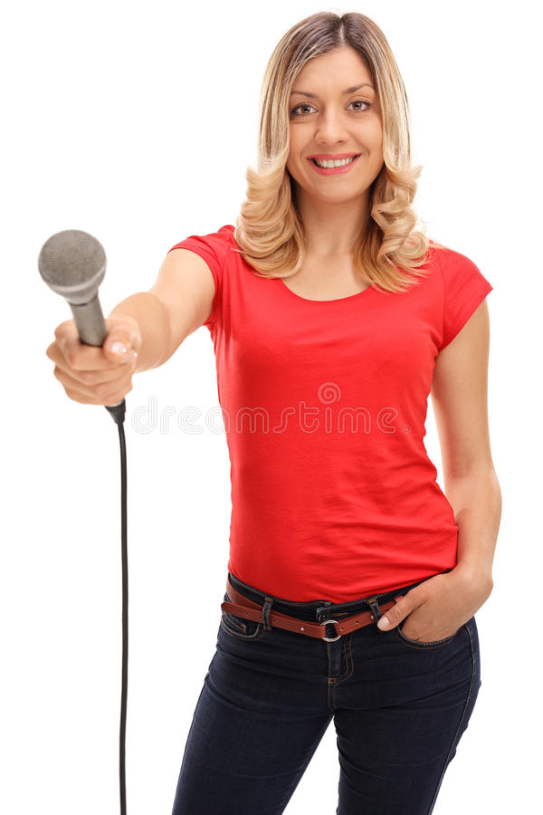 Woman doing an interview royalty free stock photo