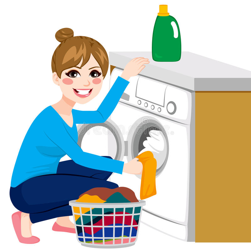 Woman Doing Laundry. Beautiful young woman doing laundry putting dirty clothes on washing machine from basket royalty free illustration