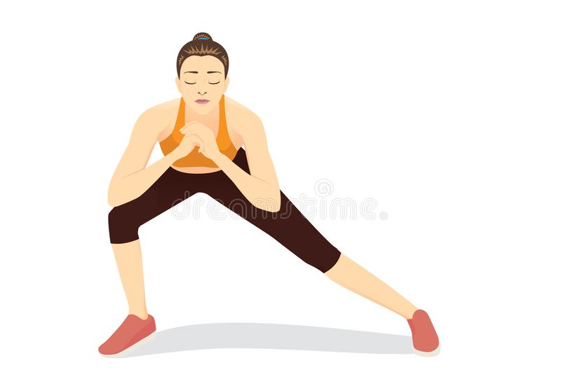 Woman doing Lunges Workout on isolated. stock illustration