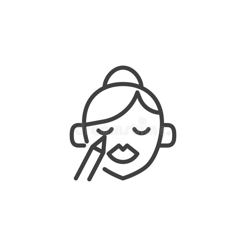 Woman doing make-up outline icon stock illustration