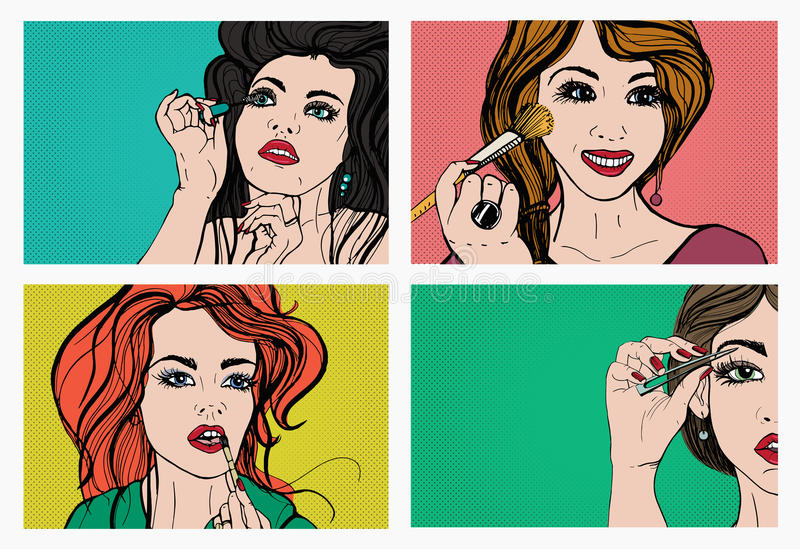 Woman doing makeup. Beautiful girls with cosmetics, lipstick, eyebrows, skin, mascara. Pop art, retro, comics style set vector illustration