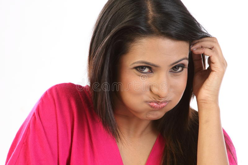 Woman doing oil pulling royalty free stock images