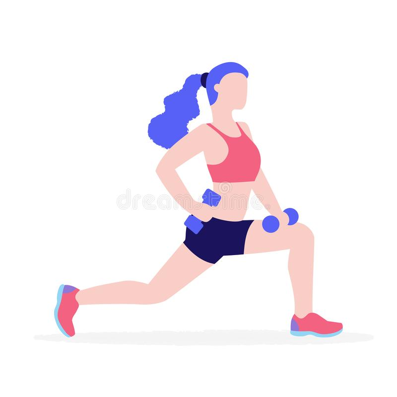 Woman doing physical exercises with dumbbells vector flat illustration isolated on white background. Girl in gym keeping stock illustration