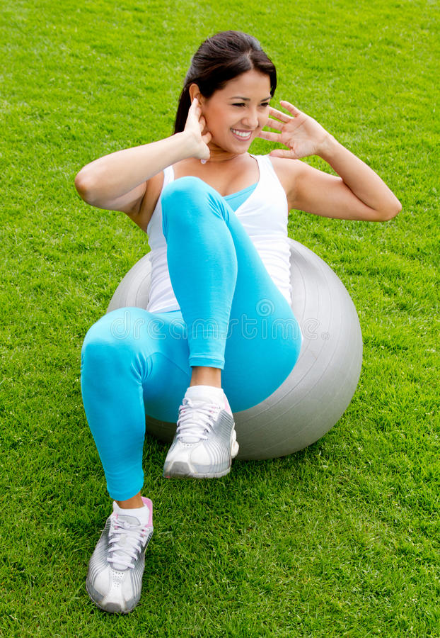 Download Woman Doing Pilates Outdoors Stock Image - Image: 24462467