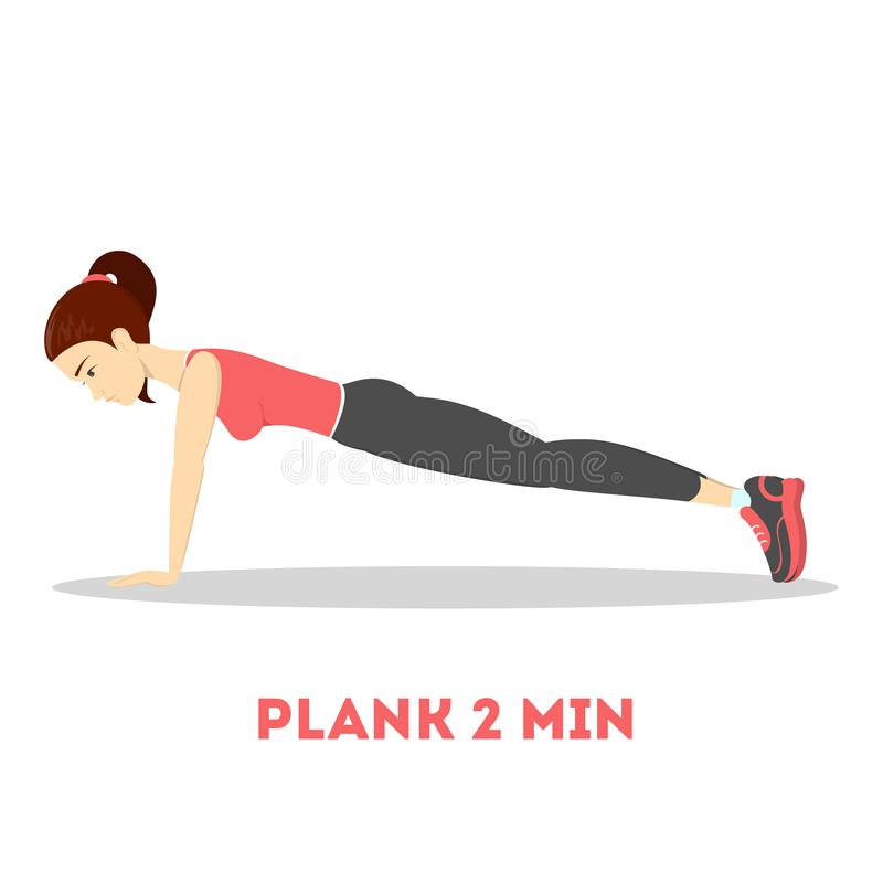 Woman doing plank in the gym. Belly burn. Workout. Girl make exercise. ABS workout. Healthy and active lifestyle. Isolated vector illustration vector illustration
