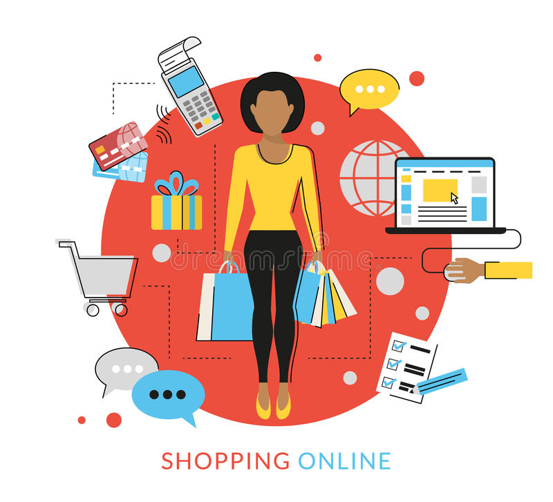 Woman doing shopping online vector illustration