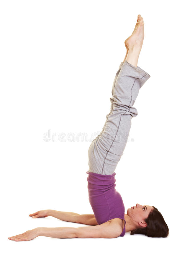 Download Woman doing shoulder stand stock image. Image of cutout - 19426515