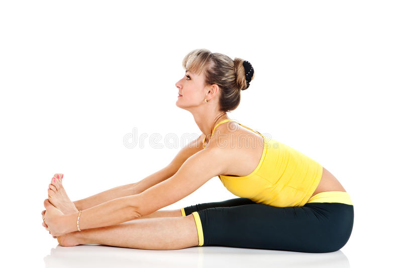 Woman doing sport exercise royalty free stock images