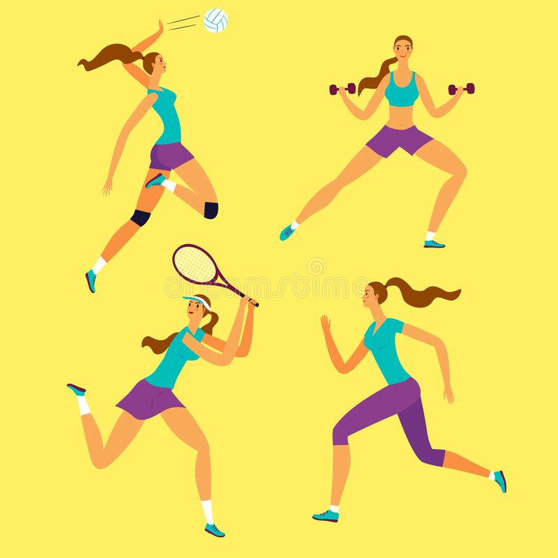 Woman doing sport exersises in different kinds of sport: volleyball, tennis, fitness, run vector illustration