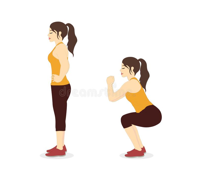 Free Woman Doing Squat Workout Two Step For Exercise Guide. Stock Images - 134431834