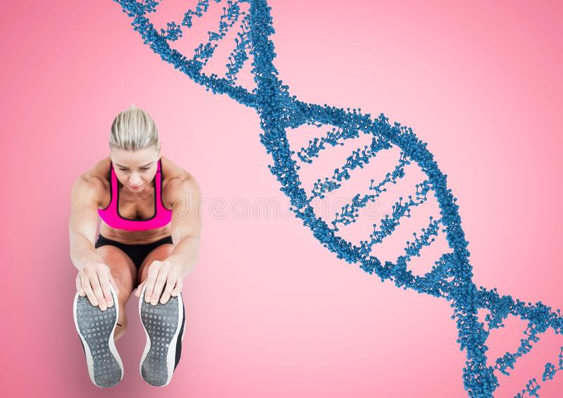 woman doing streching with blue dna chain and pink back. royalty free illustration