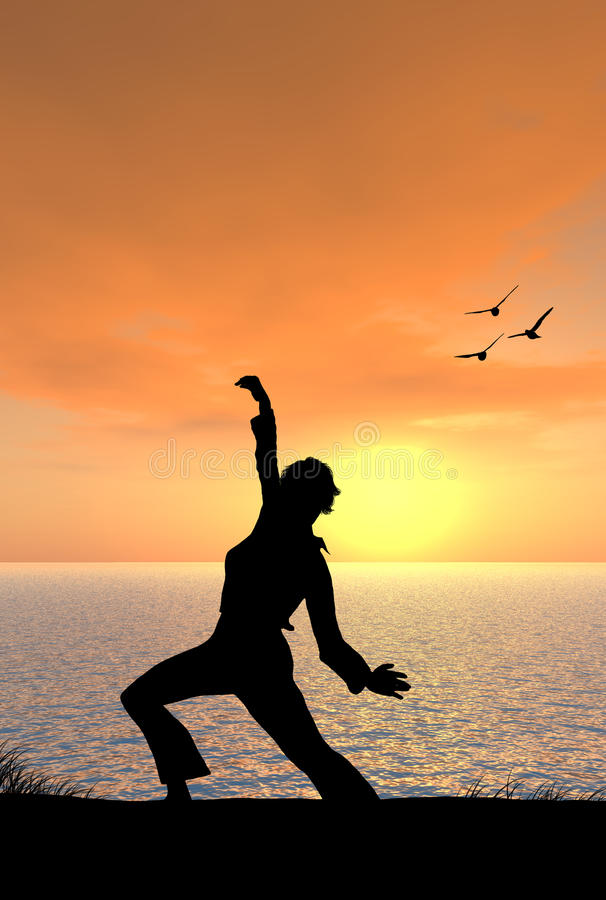 Woman Doing Tai Chi by the Sea royalty free stock photo