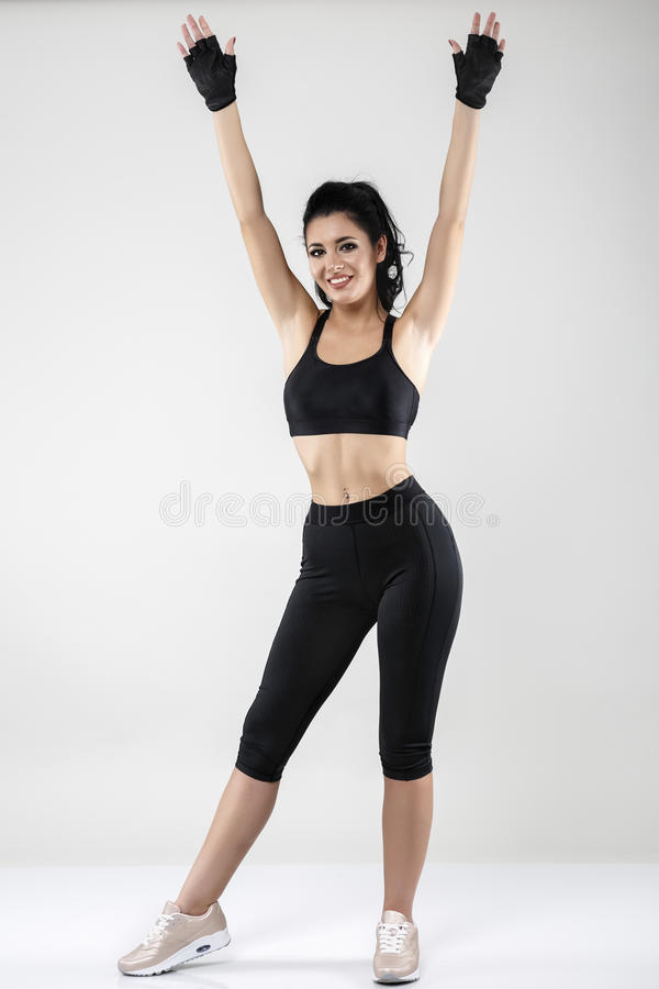 Woman doing various exercise fitness. Beautiful brunette woman doing various exercise fitness stock images