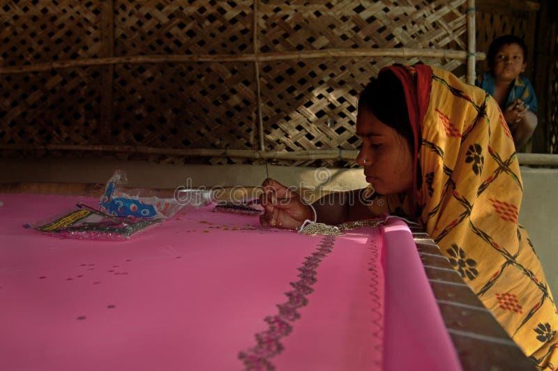 Woman Doing Weaving Editorial Stock Photo