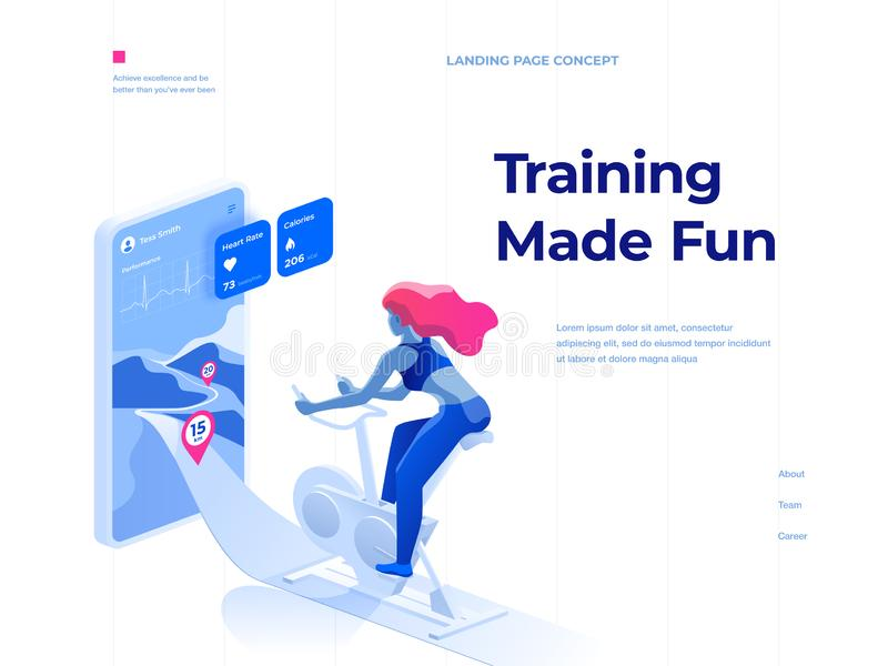 A woman doing a workout on a bike-trainer and using a mobile application to watch out her performance. Landing page concept. stock illustration