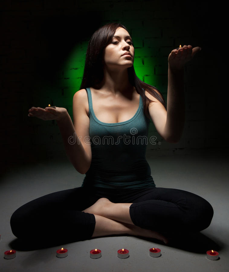 Download Woman doing yoga stock image. Image of brunette, activity - 26898587