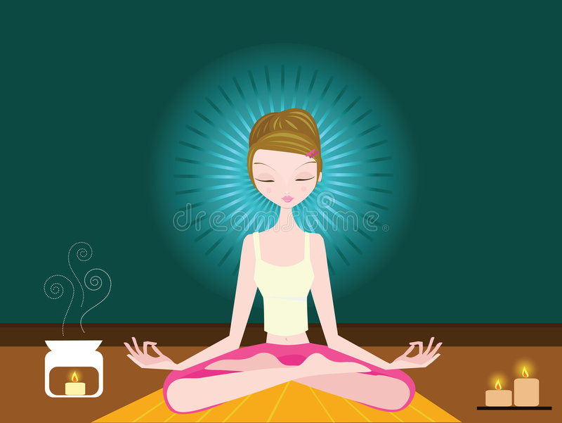 Woman Doing Yoga stock illustration