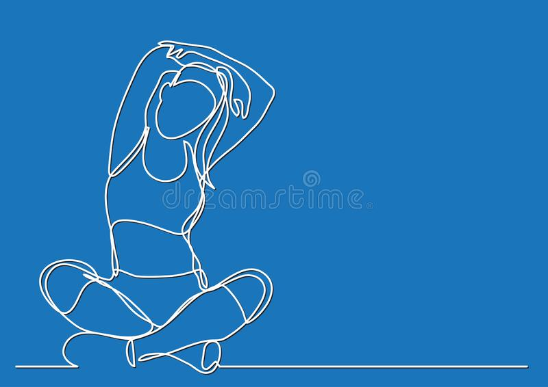 Woman doing yoga - continuous line drawing. Vector linear illustration royalty free illustration