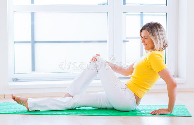 Download Woman Doing YOGA Exercise At Home Stock Image - Image: 25110329
