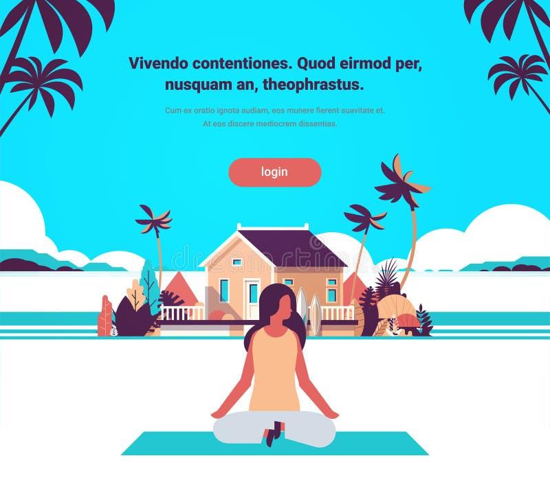 Woman doing yoga exercises lotus over beach villa house tropical island female cartoon character fitness activities full stock illustration