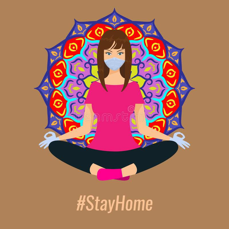 Woman doing yoga with mask and gloves. Stay at home concept vector illustration. stock photos