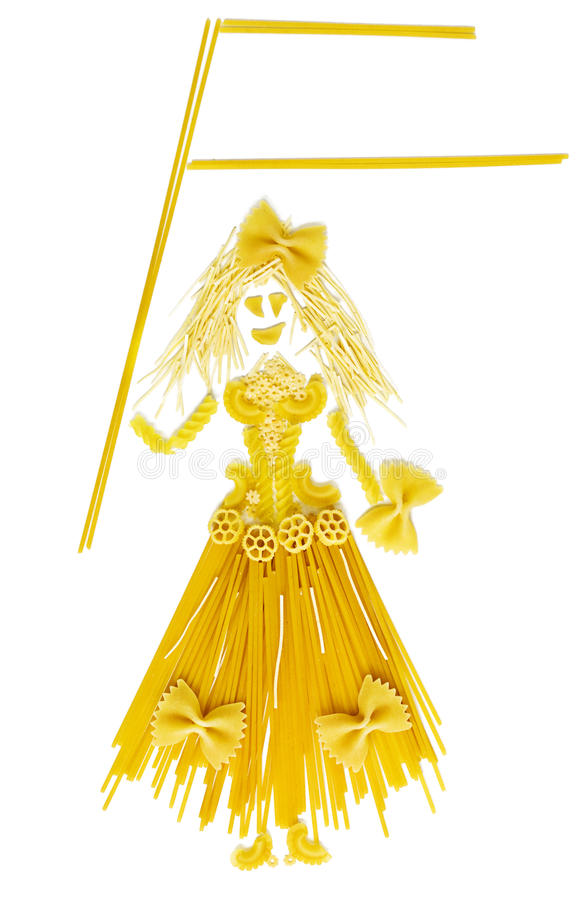 Woman doll made by pasta with blank flag royalty free stock photos