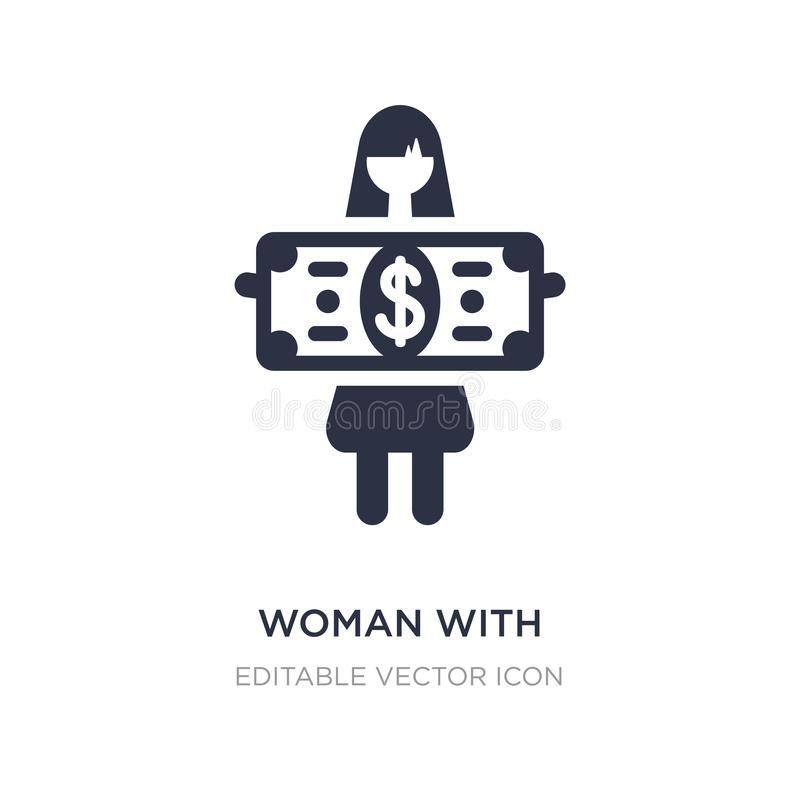 Woman with dollar bill icon on white background. Simple element illustration from Business concept. Woman with dollar bill icon symbol design royalty free illustration