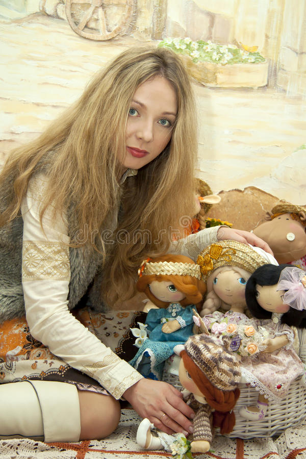 Download Woman and dolls stock image. Image of fabric, skill, needles - 23592913