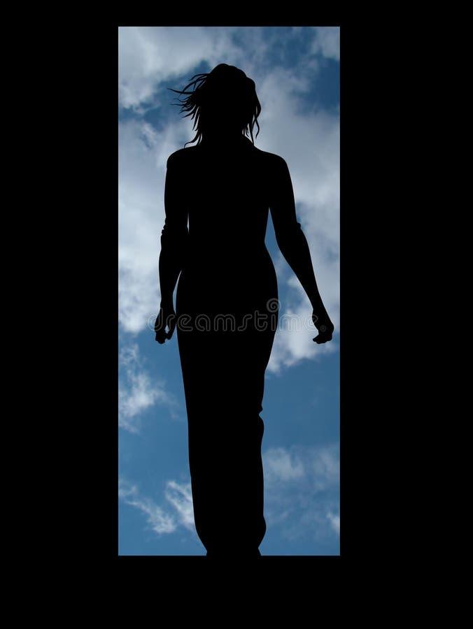 Woman door stock photography