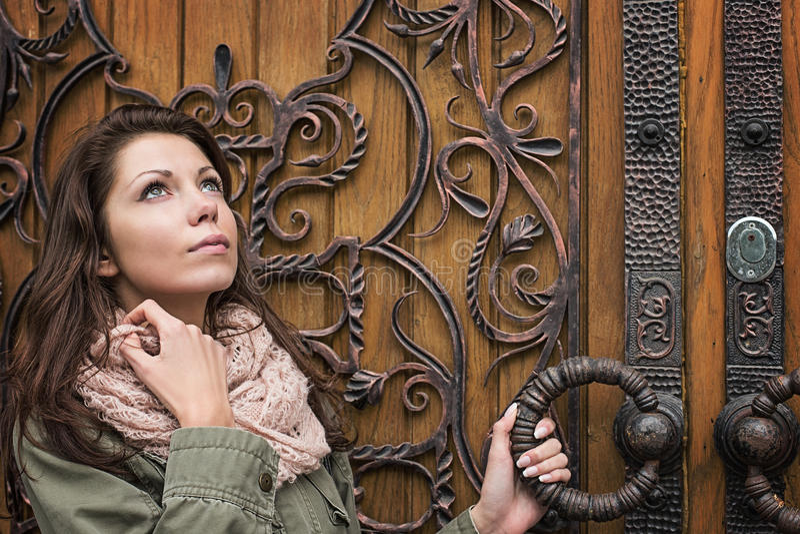 Woman door retro. Forging vintage stock images